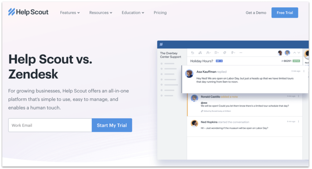 Help Scout vs. Zendesk page