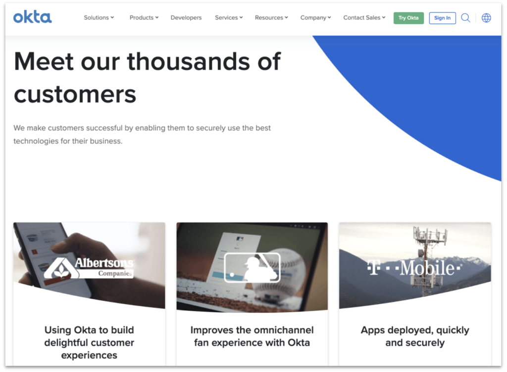 Okta customer case studies page