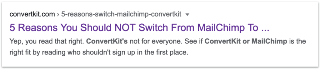 ConvertKit vs Mailchimp search result