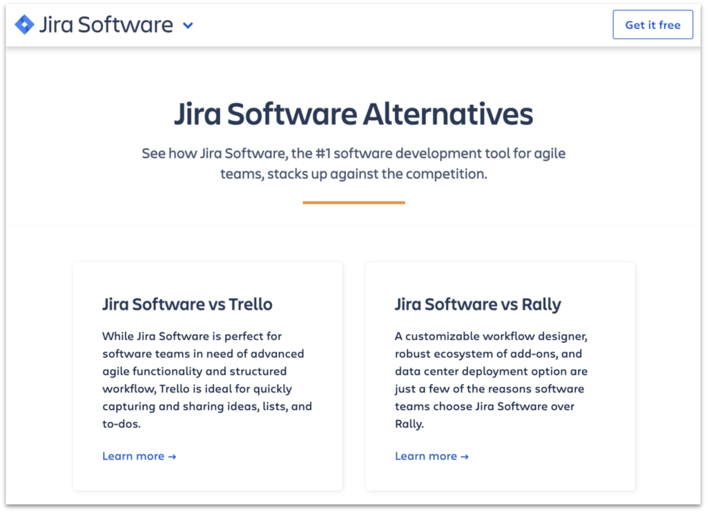 Jira alternatives page