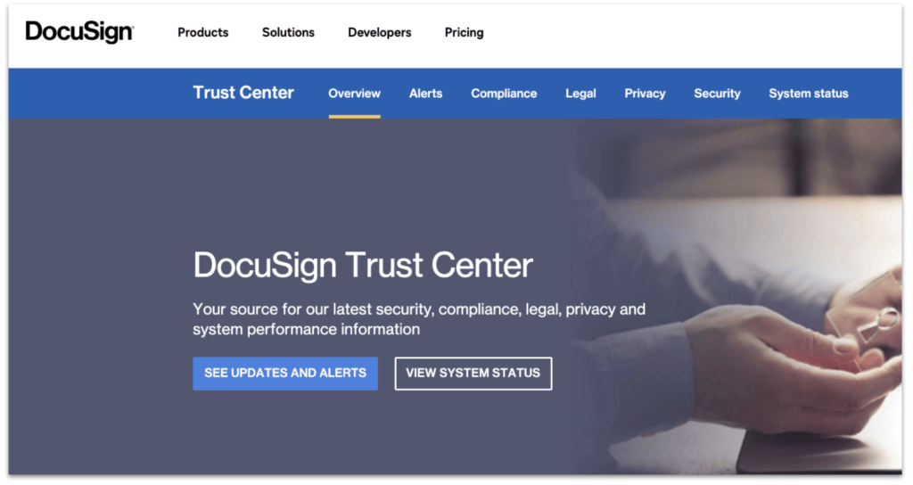 Docusign trust center page
