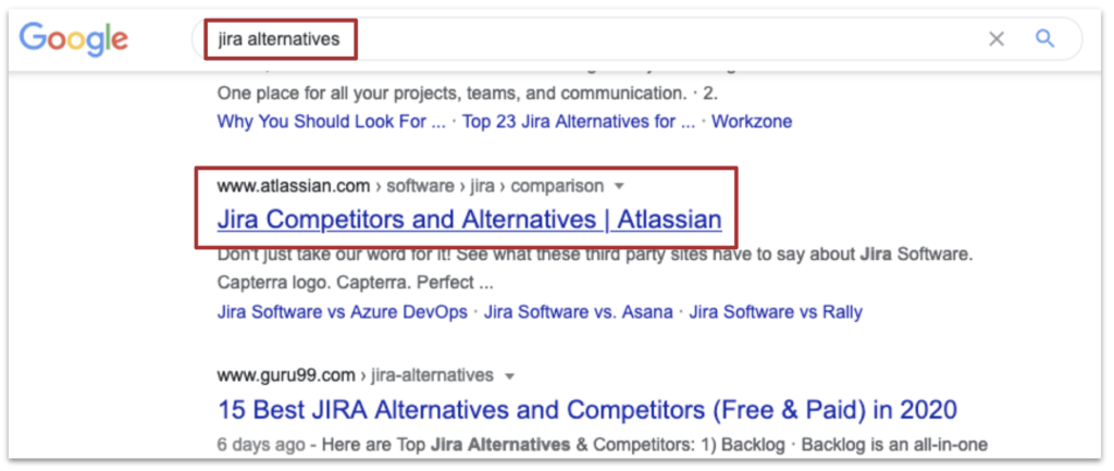 JIRA alternatives search results