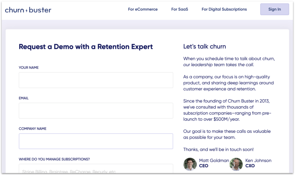 Churn Buster request a demo page