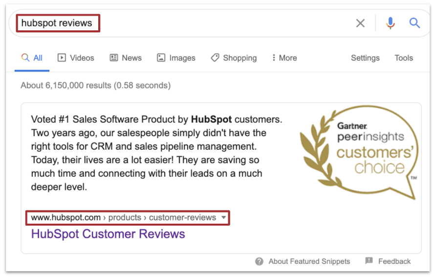 Hubspot reviews featured snippet